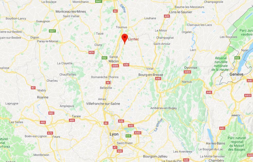 carte-plan-lorrtec-pont-de-vaux-lyon-geneve